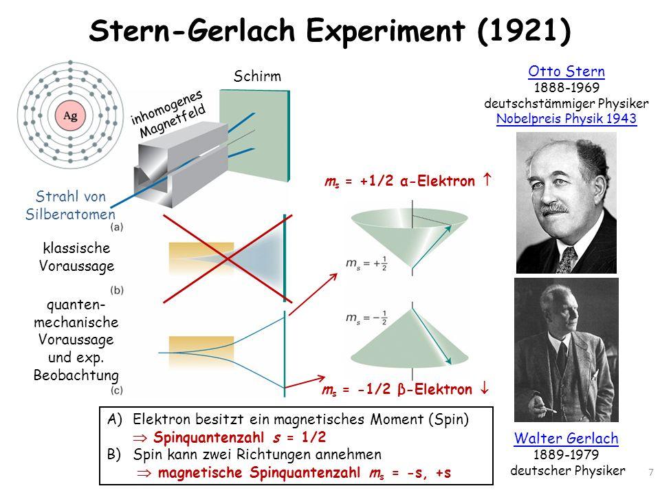 Stern-Gerlach Experiment (1921) 7 Otto Stern 1888-1969 deutschstämmiger Physiker Nobelpreis Physik 1943 Walter Gerlach 1889-1979 deutscher Physiker St