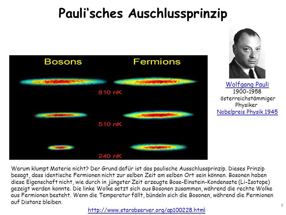 Paulisches Auschlussprinzip 8 http://www.starobserver.org/ap100228.html Warum klumpt Materie nicht? Der Grund dafür ist das paulische Ausschlussprinzi