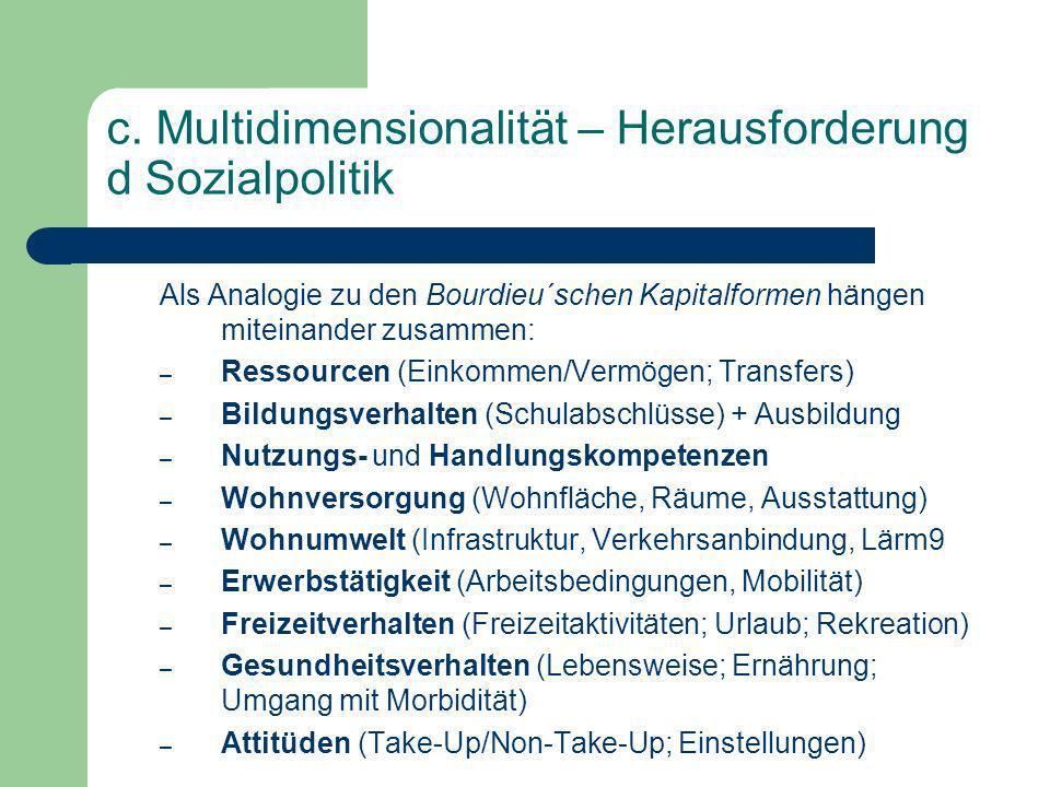 c. Multidimensionalität – Herausforderung d Sozialpolitik Als Analogie zu den Bourdieu´schen Kapitalformen hängen miteinander zusammen: – Ressourcen (
