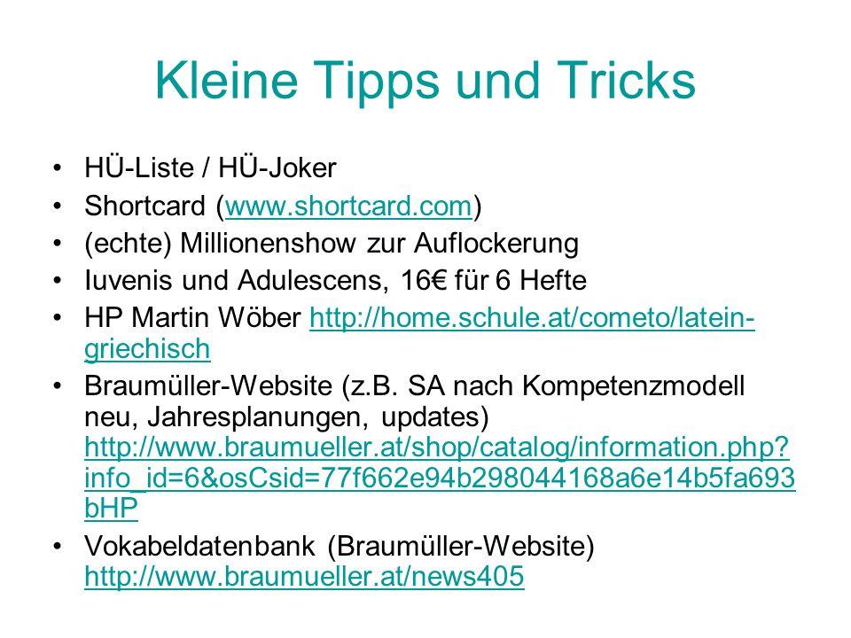 Kleine Tipps und Tricks HÜ-Liste / HÜ-Joker Shortcard (www.shortcard.com)www.shortcard.com (echte) Millionenshow zur Auflockerung Iuvenis und Adulesce
