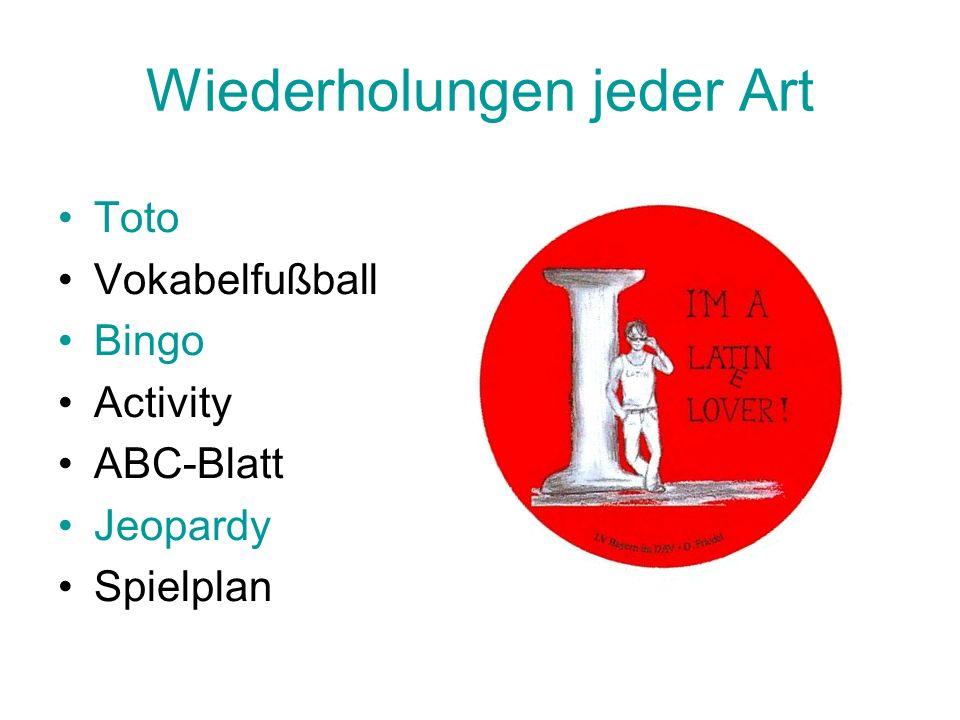 Wiederholungen jeder Art Toto Vokabelfußball Bingo Activity ABC-Blatt Jeopardy Spielplan
