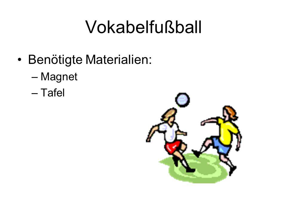 Vokabelfußball Benötigte Materialien: –Magnet –Tafel