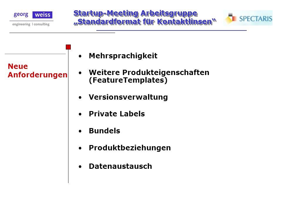 Startup-Meeting Arbeitsgruppe Standardformat für Kontaktlinsen Neue Anforderungen Mehrsprachigkeit Weitere Produkteigenschaften (FeatureTemplates) Ver