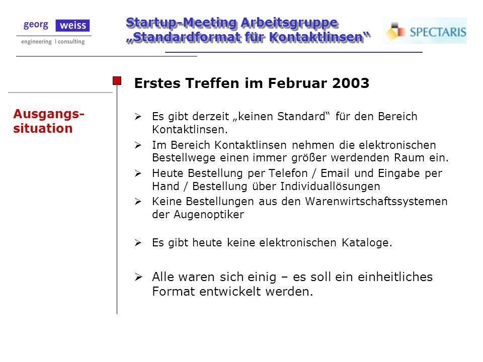 Startup-Meeting Arbeitsgruppe Standardformat für Kontaktlinsen Ausgangs- situation Erstes Treffen im Februar 2003 Es gibt derzeit keinen Standard für
