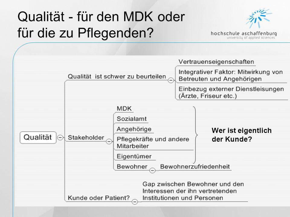 Qualität - für den MDK oder für die zu Pflegenden? Wer ist eigentlich der Kunde?