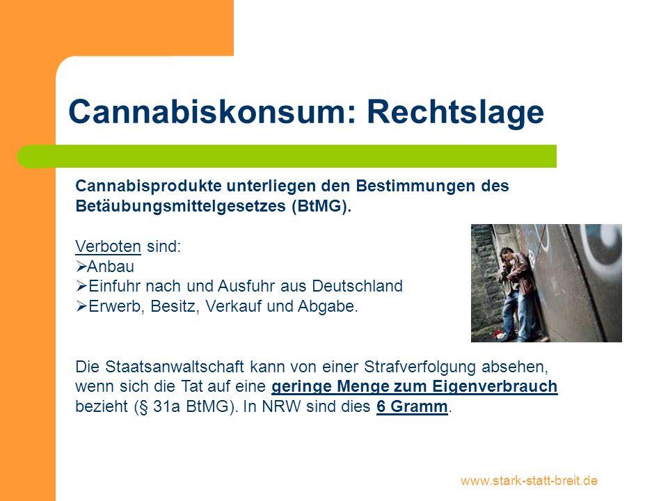 www.stark-statt-breit.de Cannabiskonsum: Rechtslage Cannabisprodukte unterliegen den Bestimmungen des Betäubungsmittelgesetzes (BtMG). Verboten sind: