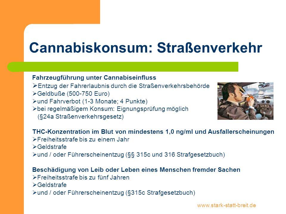 www.stark-statt-breit.de Cannabiskonsum: Straßenverkehr Fahrzeugführung unter Cannabiseinfluss Entzug der Fahrerlaubnis durch die Straßenverkehrsbehör
