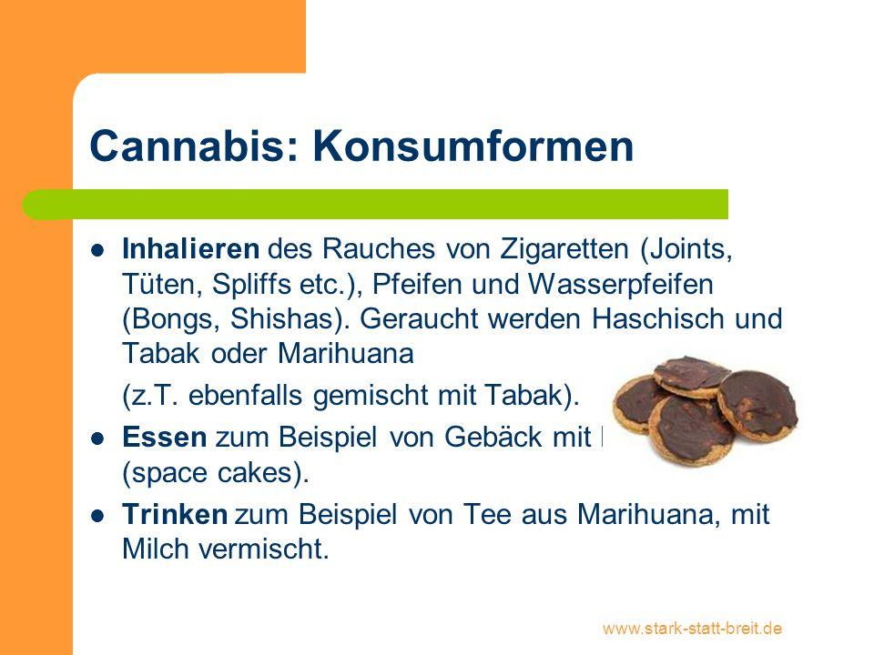 www.stark-statt-breit.de Cannabis: Konsumformen Inhalieren des Rauches von Zigaretten (Joints, Tüten, Spliffs etc.), Pfeifen und Wasserpfeifen (Bongs,