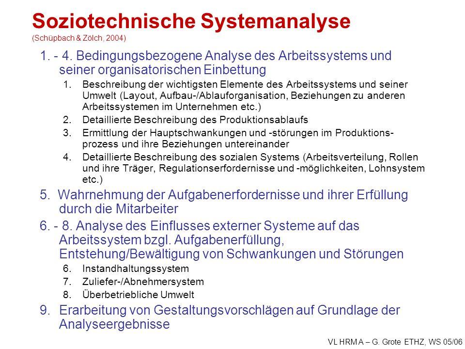 VL HRM A – G. Grote ETHZ, WS 05/06 Soziotechnische Systemanalyse (Schüpbach & Zölch, 2004) 1.