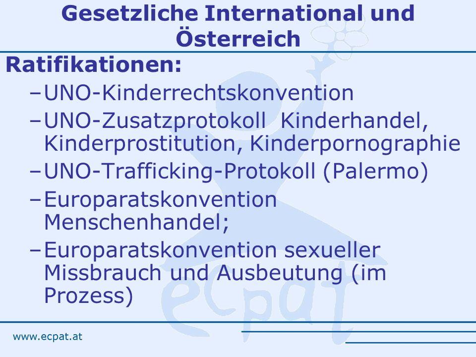 Gesetzliche International und Österreich Ratifikationen: –UNO-Kinderrechtskonvention –UNO-Zusatzprotokoll Kinderhandel, Kinderprostitution, Kinderporn
