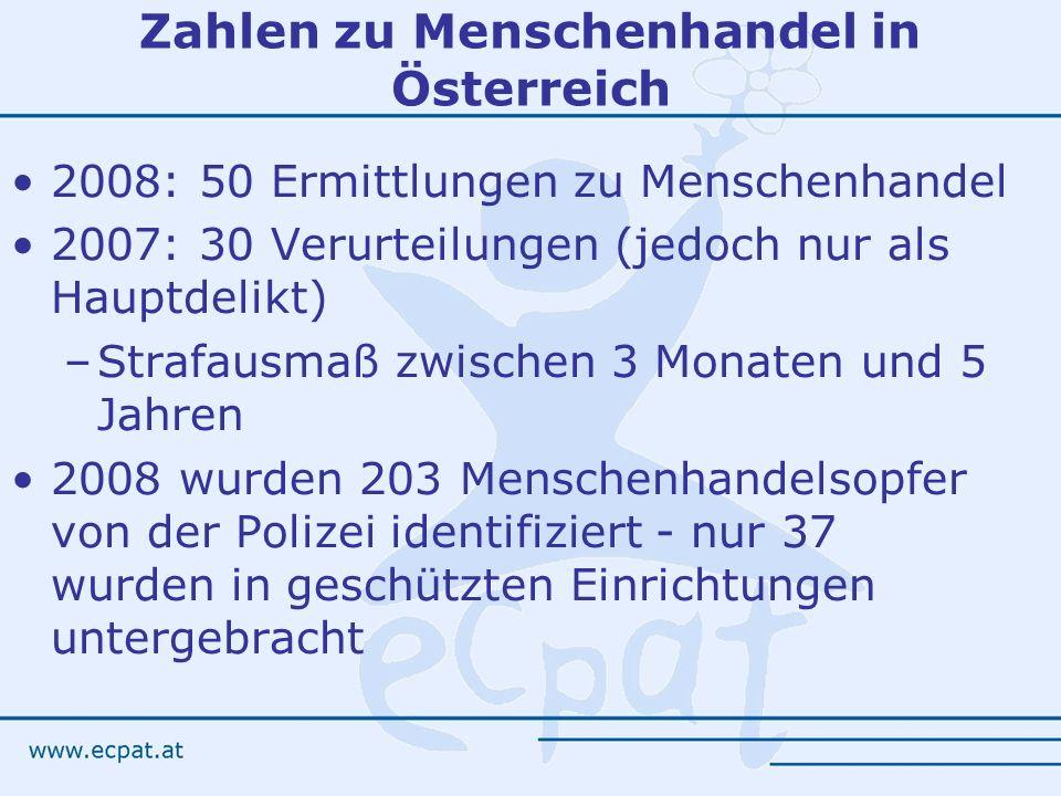 Zahlen zu Menschenhandel in Österreich 2008: 50 Ermittlungen zu Menschenhandel 2007: 30 Verurteilungen (jedoch nur als Hauptdelikt) –Strafausmaß zwisc