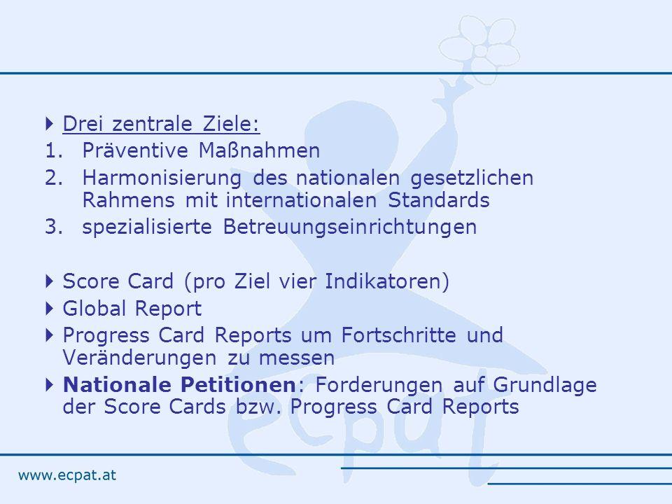 Drei zentrale Ziele: 1.Präventive Maßnahmen 2.Harmonisierung des nationalen gesetzlichen Rahmens mit internationalen Standards 3.spezialisierte Betreu