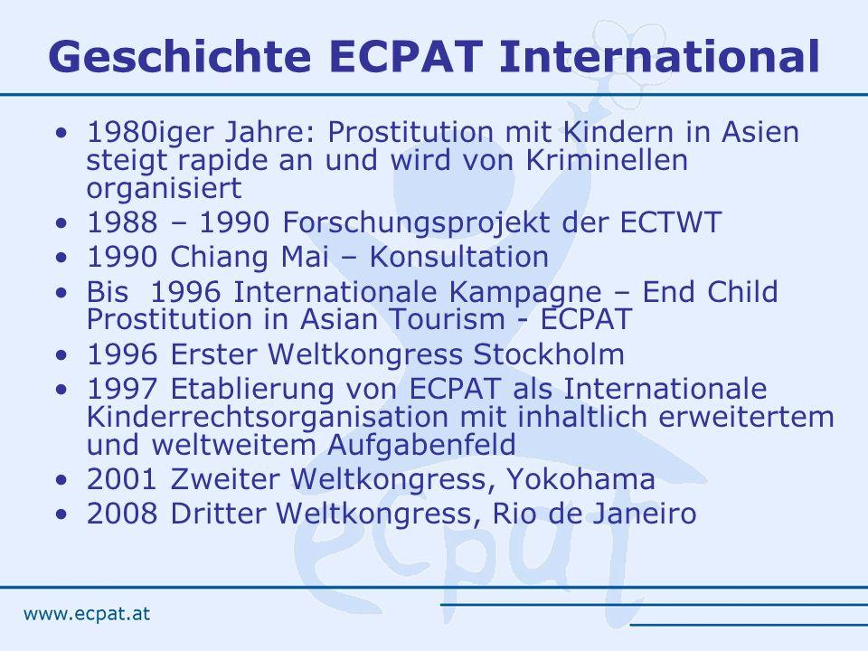 Geschichte ECPAT International 1980iger Jahre: Prostitution mit Kindern in Asien steigt rapide an und wird von Kriminellen organisiert 1988 – 1990 For