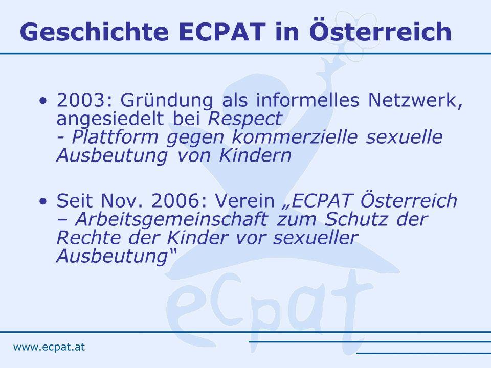 Geschichte ECPAT in Österreich 2003: Gründung als informelles Netzwerk, angesiedelt bei Respect - Plattform gegen kommerzielle sexuelle Ausbeutung von