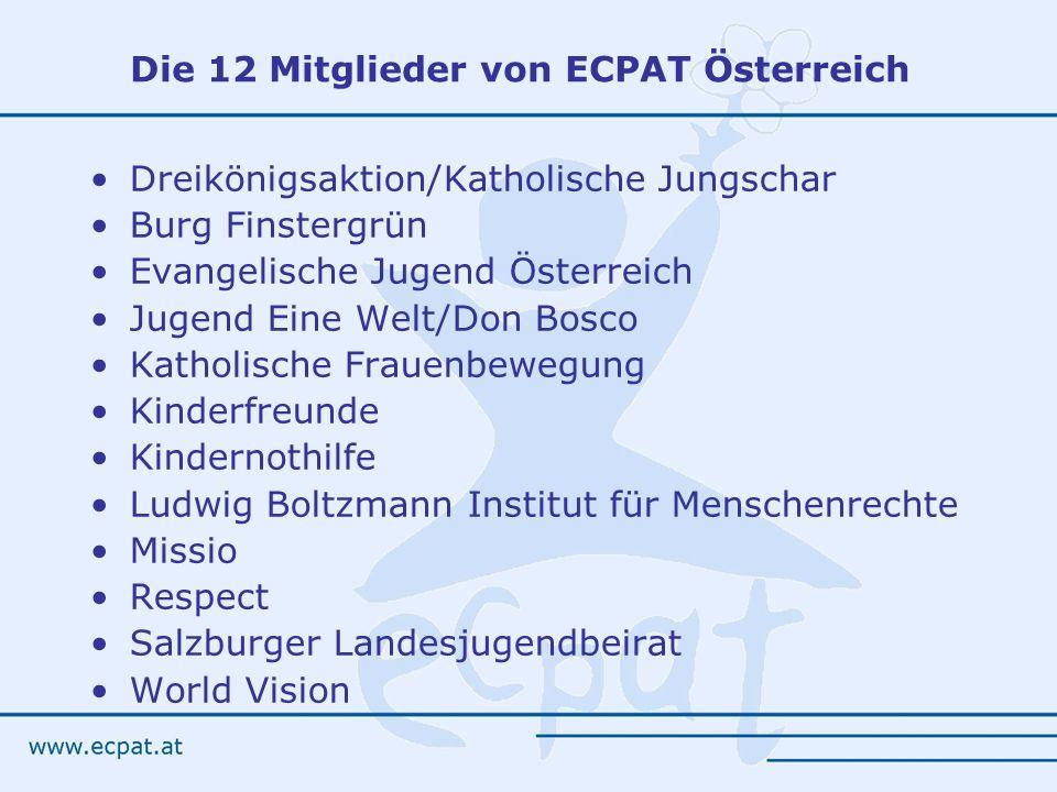Die 12 Mitglieder von ECPAT Österreich Dreikönigsaktion/Katholische Jungschar Burg Finstergrün Evangelische Jugend Österreich Jugend Eine Welt/Don Bos