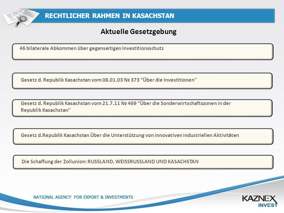 RECHTLICHER RAHMEN IN KASACHSTAN Aktuelle Gesetzgebung Gesetz d. Republik Kasachstan vom 21.7.11 469 Über die Sonderwirtschaftszonen in der Republik K