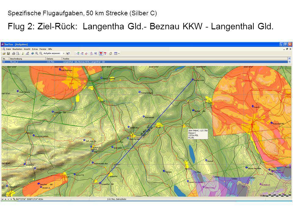 Spezifische Flugaufgaben, 50 km Strecke (Silber C) Flug 2: Ziel-Rück: Langentha Gld.- Beznau KKW - Langenthal Gld.
