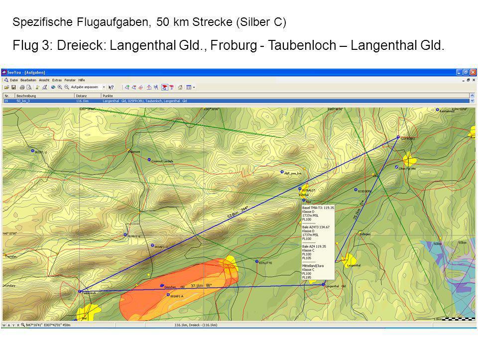 Spezifische Flugaufgaben, 50 km Strecke (Silber C) Flug 3: Dreieck: Langenthal Gld., Froburg - Taubenloch – Langenthal Gld.