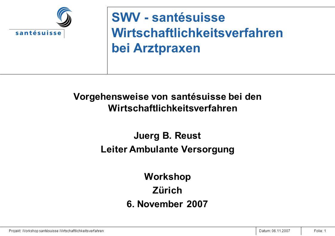 Datum: 06.11.2007Projekt: Workshop santésuisse WirtschaftlichkeitsverfahrenFolie: 1 SWV - santésuisse Wirtschaftlichkeitsverfahren bei Arztpraxen Vorg