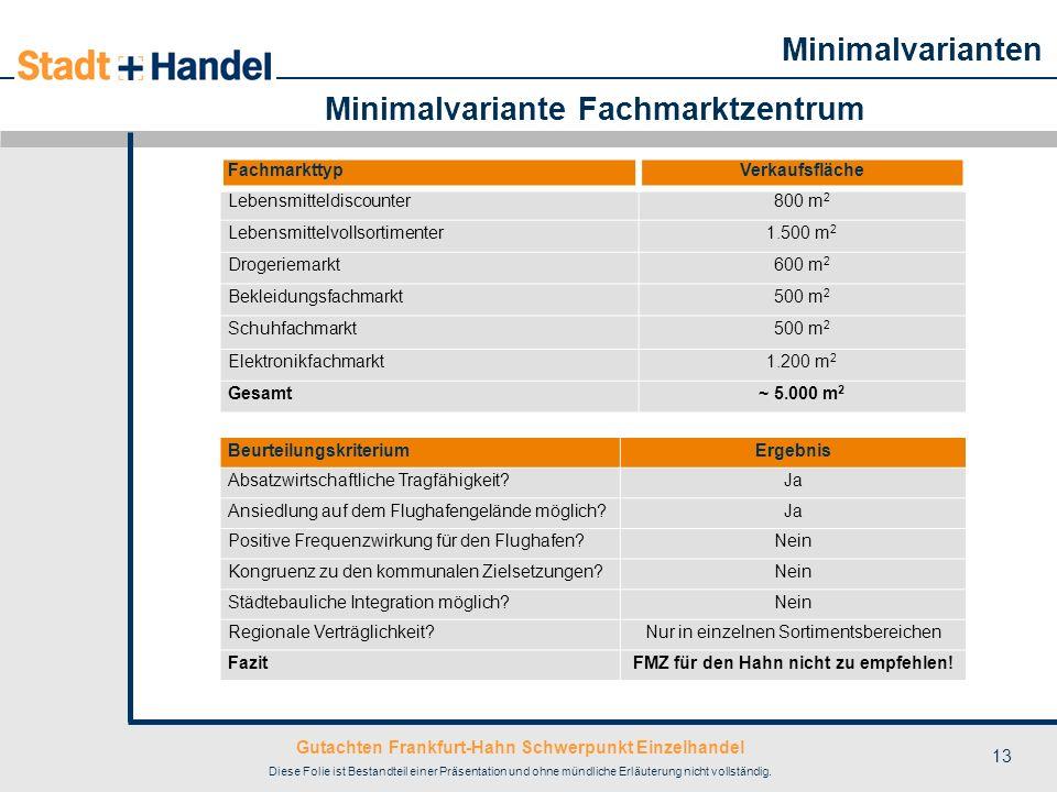 Gutachten Frankfurt-Hahn Schwerpunkt Einzelhandel Diese Folie ist Bestandteil einer Präsentation und ohne mündliche Erläuterung nicht vollständig. 13