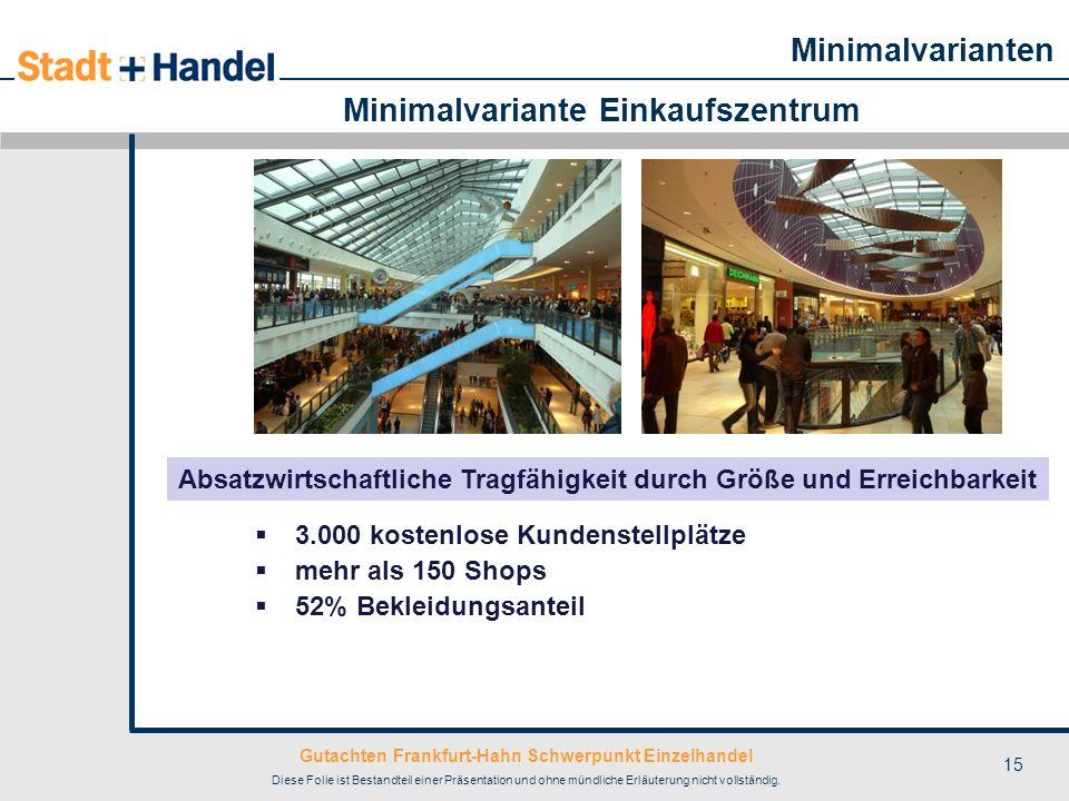 Gutachten Frankfurt-Hahn Schwerpunkt Einzelhandel Diese Folie ist Bestandteil einer Präsentation und ohne mündliche Erläuterung nicht vollständig. 15