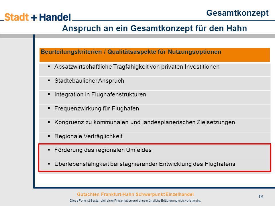Gutachten Frankfurt-Hahn Schwerpunkt Einzelhandel Diese Folie ist Bestandteil einer Präsentation und ohne mündliche Erläuterung nicht vollständig. 18