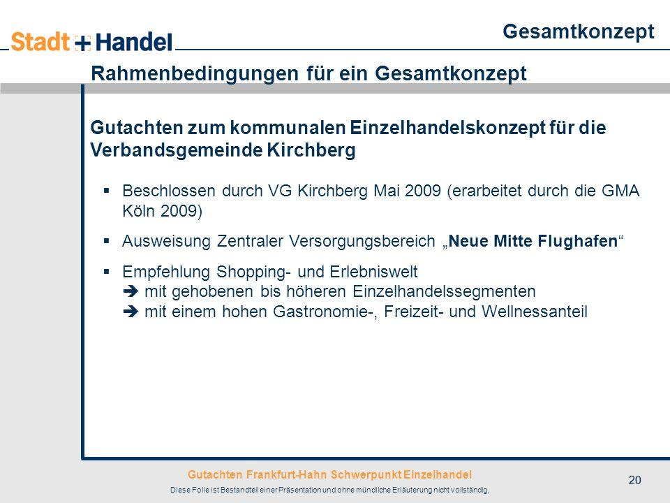 Gutachten Frankfurt-Hahn Schwerpunkt Einzelhandel Diese Folie ist Bestandteil einer Präsentation und ohne mündliche Erläuterung nicht vollständig. 20