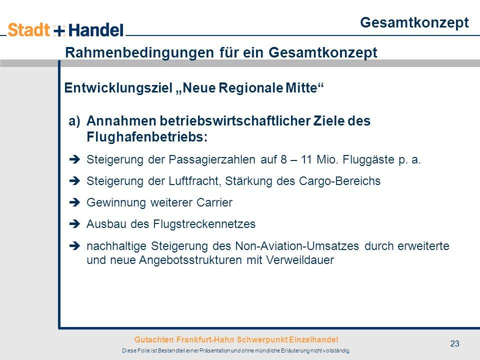Gutachten Frankfurt-Hahn Schwerpunkt Einzelhandel Diese Folie ist Bestandteil einer Präsentation und ohne mündliche Erläuterung nicht vollständig. 23