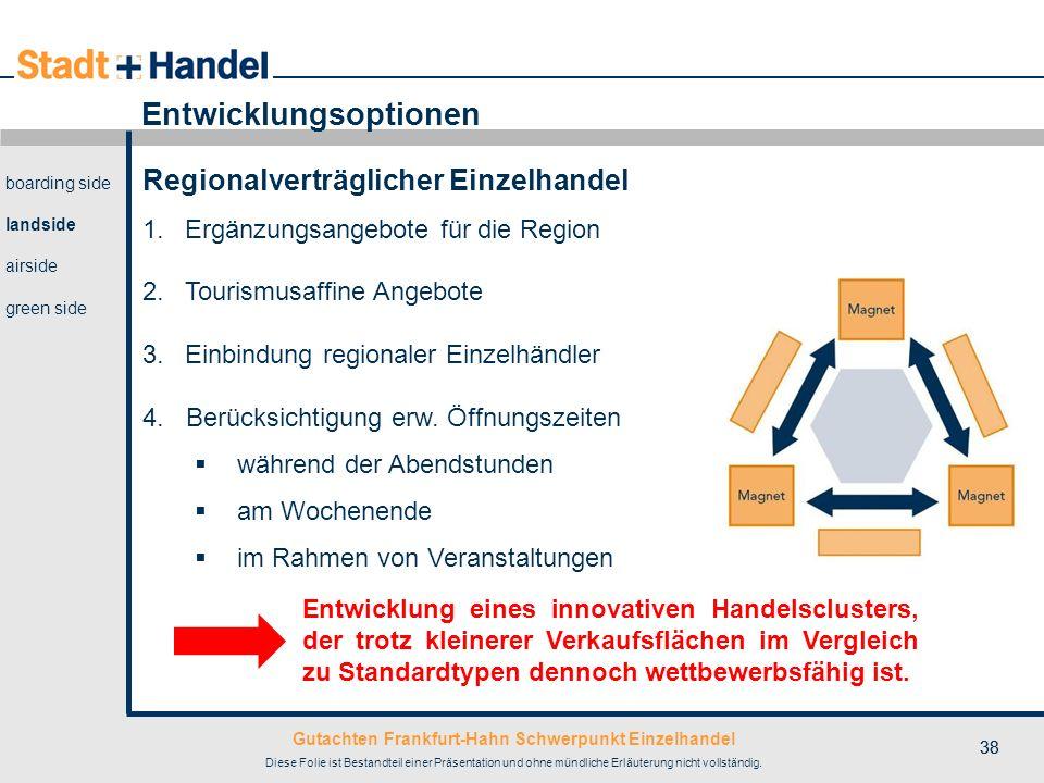 Gutachten Frankfurt-Hahn Schwerpunkt Einzelhandel Diese Folie ist Bestandteil einer Präsentation und ohne mündliche Erläuterung nicht vollständig. 38