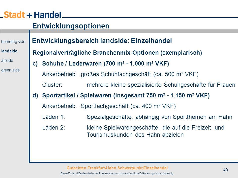 Gutachten Frankfurt-Hahn Schwerpunkt Einzelhandel Diese Folie ist Bestandteil einer Präsentation und ohne mündliche Erläuterung nicht vollständig. 40