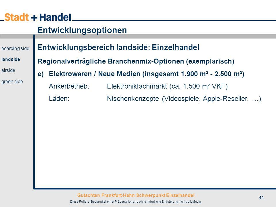 Gutachten Frankfurt-Hahn Schwerpunkt Einzelhandel Diese Folie ist Bestandteil einer Präsentation und ohne mündliche Erläuterung nicht vollständig. 41