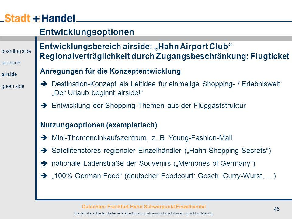 Gutachten Frankfurt-Hahn Schwerpunkt Einzelhandel Diese Folie ist Bestandteil einer Präsentation und ohne mündliche Erläuterung nicht vollständig. 45