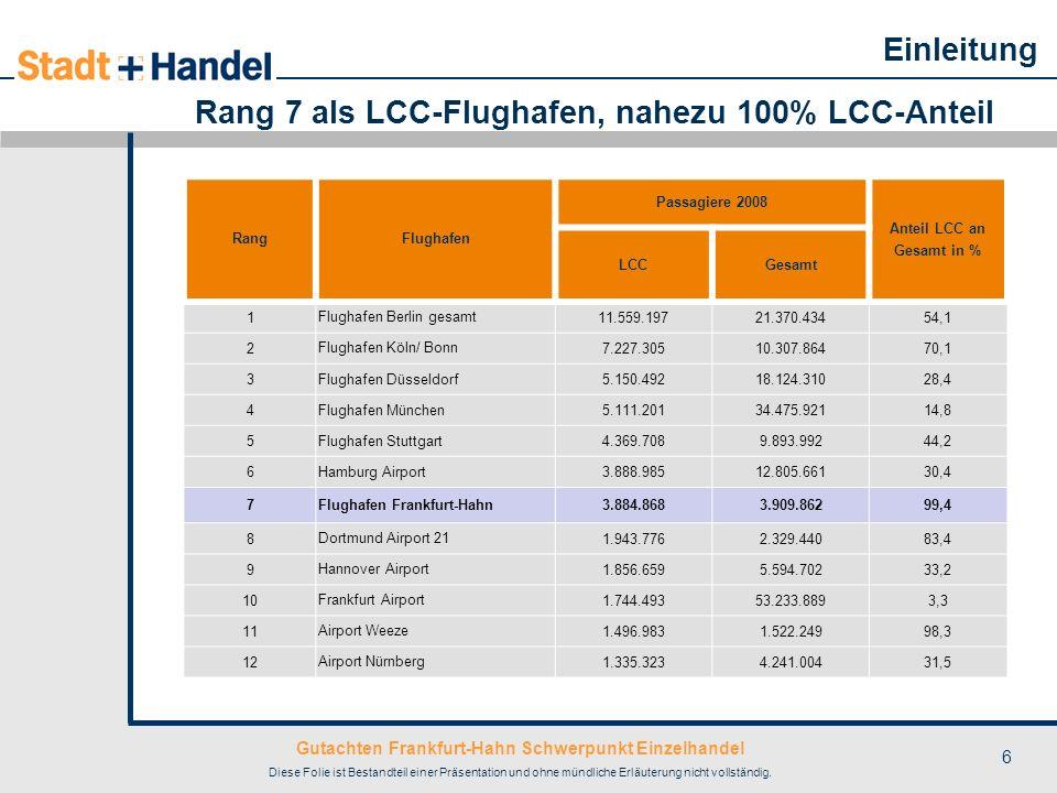 Gutachten Frankfurt-Hahn Schwerpunkt Einzelhandel Diese Folie ist Bestandteil einer Präsentation und ohne mündliche Erläuterung nicht vollständig. 6 R