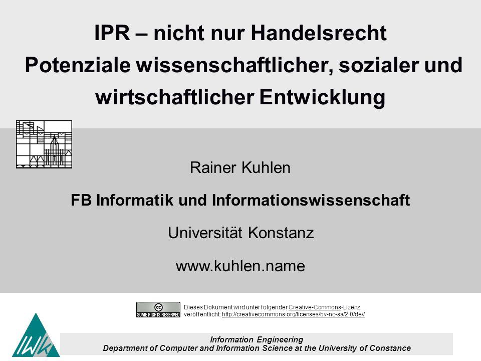 2 Dieses Dokument wird unter folgender Creative-Commons-LizenzCreative-Commons veröffentlicht: http://creativecommons.org/licenses/by-nc-sa/2.0/de//http://creativecommons.org/licenses/by-nc-sa/2.0/de// Aktionsbündnis Urheberrecht für Bildung und Wissenschaft 210305 Die Themen und Thesen der Weg ins Handelsr echt für IPR Deutschla nds gefährlic her Weg Innovatio n und IPR Kollaborativ es Wissens- management Open Innovation Theorie Praxis Innovation - to make a difference Innov ation und Infor mation Innovative Kultur