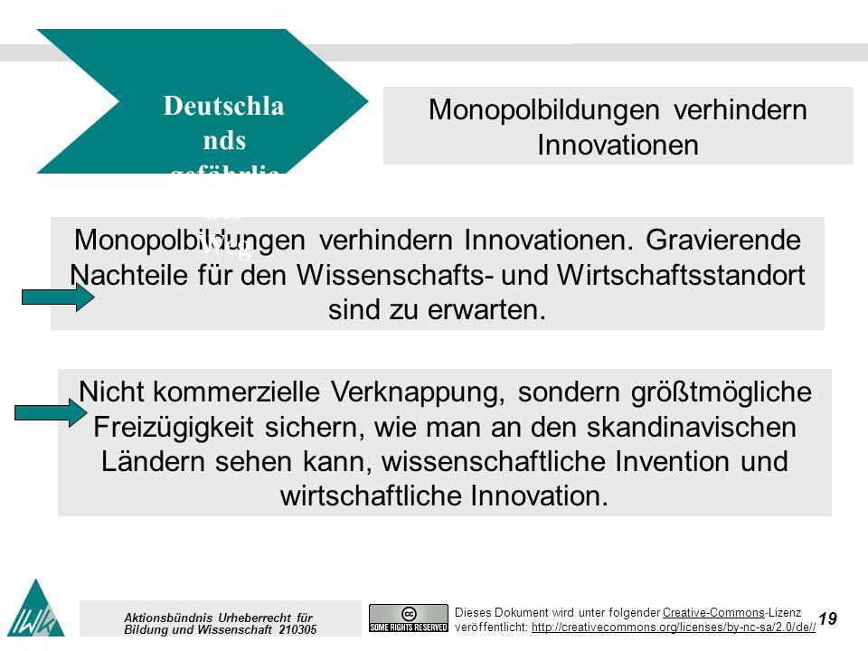 19 Dieses Dokument wird unter folgender Creative-Commons-LizenzCreative-Commons veröffentlicht: http://creativecommons.org/licenses/by-nc-sa/2.0/de//http://creativecommons.org/licenses/by-nc-sa/2.0/de// Aktionsbündnis Urheberrecht für Bildung und Wissenschaft 210305 Monopolbildungen verhindern Innovationen.