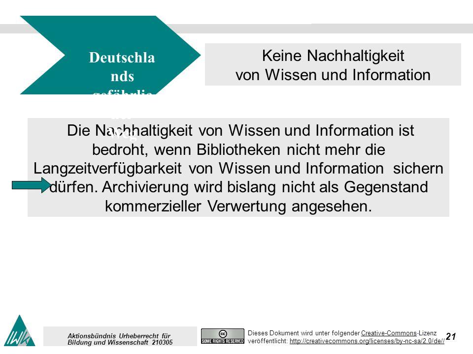 21 Dieses Dokument wird unter folgender Creative-Commons-LizenzCreative-Commons veröffentlicht: http://creativecommons.org/licenses/by-nc-sa/2.0/de//http://creativecommons.org/licenses/by-nc-sa/2.0/de// Aktionsbündnis Urheberrecht für Bildung und Wissenschaft 210305 Die Nachhaltigkeit von Wissen und Information ist bedroht, wenn Bibliotheken nicht mehr die Langzeitverfügbarkeit von Wissen und Information sichern dürfen.