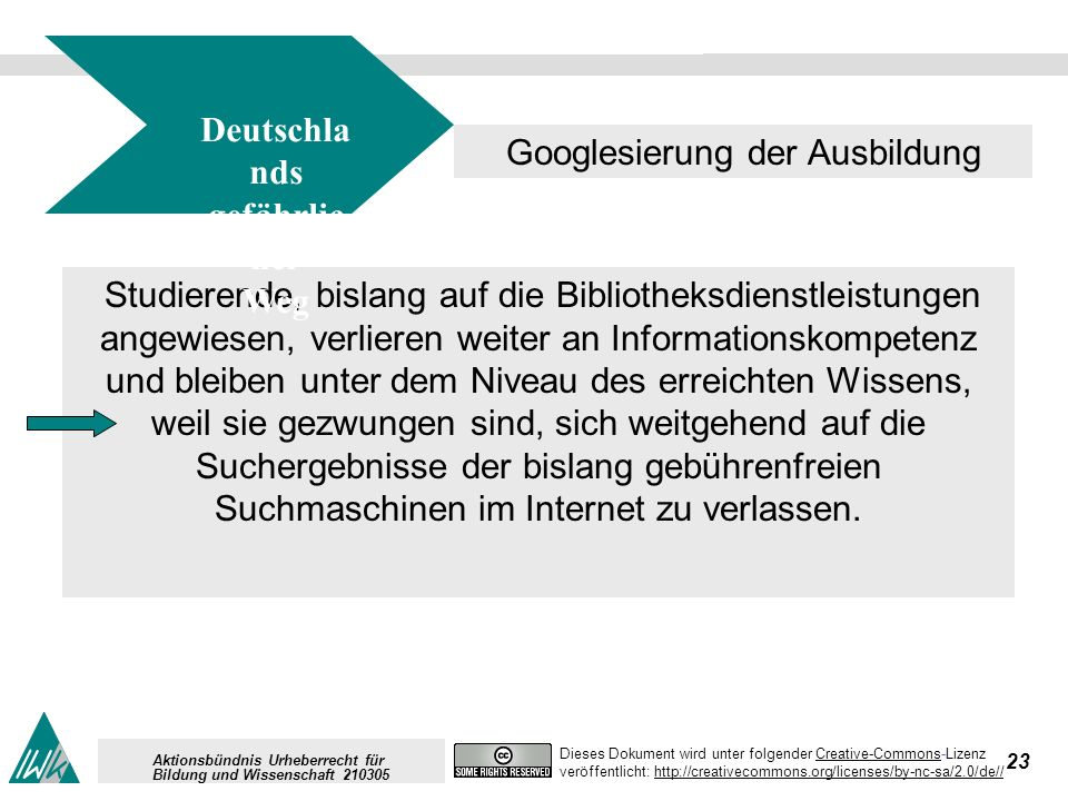 23 Dieses Dokument wird unter folgender Creative-Commons-LizenzCreative-Commons veröffentlicht: http://creativecommons.org/licenses/by-nc-sa/2.0/de//h