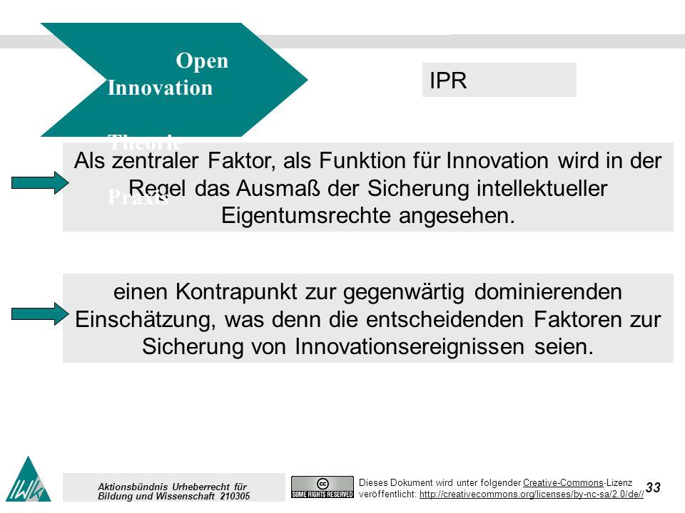 33 Dieses Dokument wird unter folgender Creative-Commons-LizenzCreative-Commons veröffentlicht: http://creativecommons.org/licenses/by-nc-sa/2.0/de//http://creativecommons.org/licenses/by-nc-sa/2.0/de// Aktionsbündnis Urheberrecht für Bildung und Wissenschaft 210305 Als zentraler Faktor, als Funktion für Innovation wird in der Regel das Ausmaß der Sicherung intellektueller Eigentumsrechte angesehen.