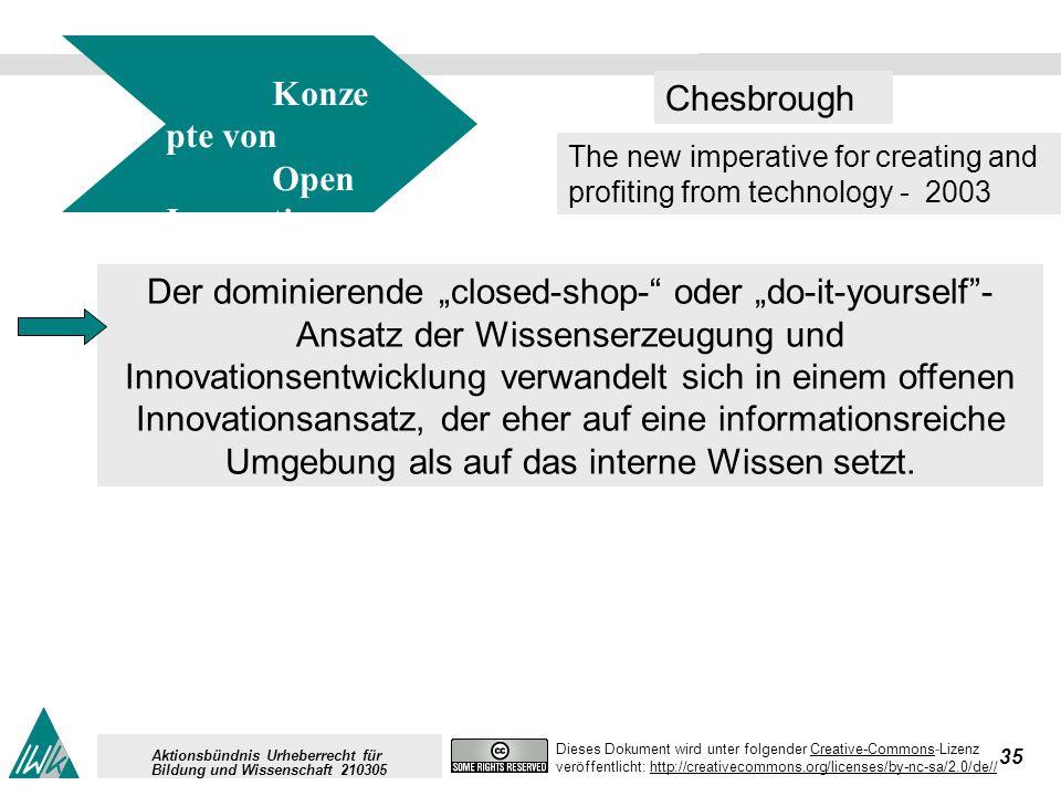 35 Dieses Dokument wird unter folgender Creative-Commons-LizenzCreative-Commons veröffentlicht: http://creativecommons.org/licenses/by-nc-sa/2.0/de//http://creativecommons.org/licenses/by-nc-sa/2.0/de// Aktionsbündnis Urheberrecht für Bildung und Wissenschaft 210305 Der dominierende closed-shop- oder do-it-yourself- Ansatz der Wissenserzeugung und Innovationsentwicklung verwandelt sich in einem offenen Innovationsansatz, der eher auf eine informationsreiche Umgebung als auf das interne Wissen setzt.