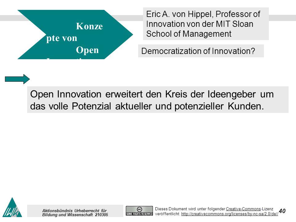 40 Dieses Dokument wird unter folgender Creative-Commons-LizenzCreative-Commons veröffentlicht: http://creativecommons.org/licenses/by-nc-sa/2.0/de//http://creativecommons.org/licenses/by-nc-sa/2.0/de// Aktionsbündnis Urheberrecht für Bildung und Wissenschaft 210305 Konze pte von Open Innovation Eric A.
