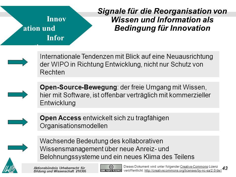 43 Dieses Dokument wird unter folgender Creative-Commons-LizenzCreative-Commons veröffentlicht: http://creativecommons.org/licenses/by-nc-sa/2.0/de//http://creativecommons.org/licenses/by-nc-sa/2.0/de// Aktionsbündnis Urheberrecht für Bildung und Wissenschaft 210305 Signale für die Reorganisation von Wissen und Information als Bedingung für Innovation Open-Source-Bewegung: der freie Umgang mit Wissen, hier mit Software, ist offenbar verträglich mit kommerzieller Entwicklung Internationale Tendenzen mit Blick auf eine Neuausrichtung der WIPO in Richtung Entwicklung, nicht nur Schutz von Rechten Wachsende Bedeutung des kollaborativen Wissensmanagement über neue Anreiz- und Belohnungssysteme und ein neues Klima des Teilens Innov ation und Infor mation Open Access entwickelt sich zu tragfähigen Organisationsmodellen