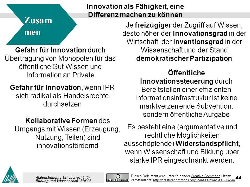 44 Dieses Dokument wird unter folgender Creative-Commons-LizenzCreative-Commons veröffentlicht: http://creativecommons.org/licenses/by-nc-sa/2.0/de//http://creativecommons.org/licenses/by-nc-sa/2.0/de// Aktionsbündnis Urheberrecht für Bildung und Wissenschaft 210305 Zusam men fassung Gefahr für Innovation durch Übertragung von Monopolen für das öffentliche Gut Wissen und Information an Private Öffentliche Innovationssteuerung durch Bereitstellen einer effizienten Informationsinfrastruktur ist keine marktverzerrende Subvention, sondern öffentliche Aufgabe Kollaborative Formen des Umgangs mit Wissen (Erzeugung, Nutzung, Teilen) sind innovationsfördernd Je freizügiger der Zugriff auf Wissen, desto höher der Innovationsgrad in der Wirtschaft, der Inventionsgrad in der Wissenschaft und der Stand demokratischer Partizipation Innovation als Fähigkeit, eine Differenz machen zu können Gefahr für Innovation, wenn IPR sich radikal als Handelsrechte durchsetzen Es besteht eine (argumentative und rechtliche Möglichkeiten ausschöpfende) Widerstandspflicht, wenn Wissenschaft und Bildung über starke IPR eingeschränkt werden.