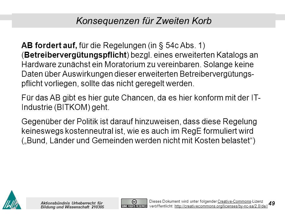 49 Dieses Dokument wird unter folgender Creative-Commons-LizenzCreative-Commons veröffentlicht: http://creativecommons.org/licenses/by-nc-sa/2.0/de//http://creativecommons.org/licenses/by-nc-sa/2.0/de// Aktionsbündnis Urheberrecht für Bildung und Wissenschaft 210305 Konsequenzen für Zweiten Korb AB fordert auf, für die Regelungen (in § 54c Abs.