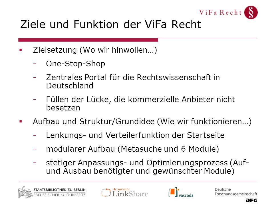 Ziele und Funktion der ViFa Recht Zielsetzung (Wo wir hinwollen…) -One-Stop-Shop -Zentrales Portal für die Rechtswissenschaft in Deutschland -Füllen d