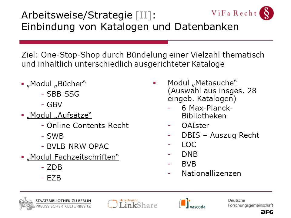 Arbeitsweise/Strategie [II]: Einbindung von Katalogen und Datenbanken Modul Bücher - SBB SSG - GBV Modul Aufsätze - Online Contents Recht - SWB - BVLB