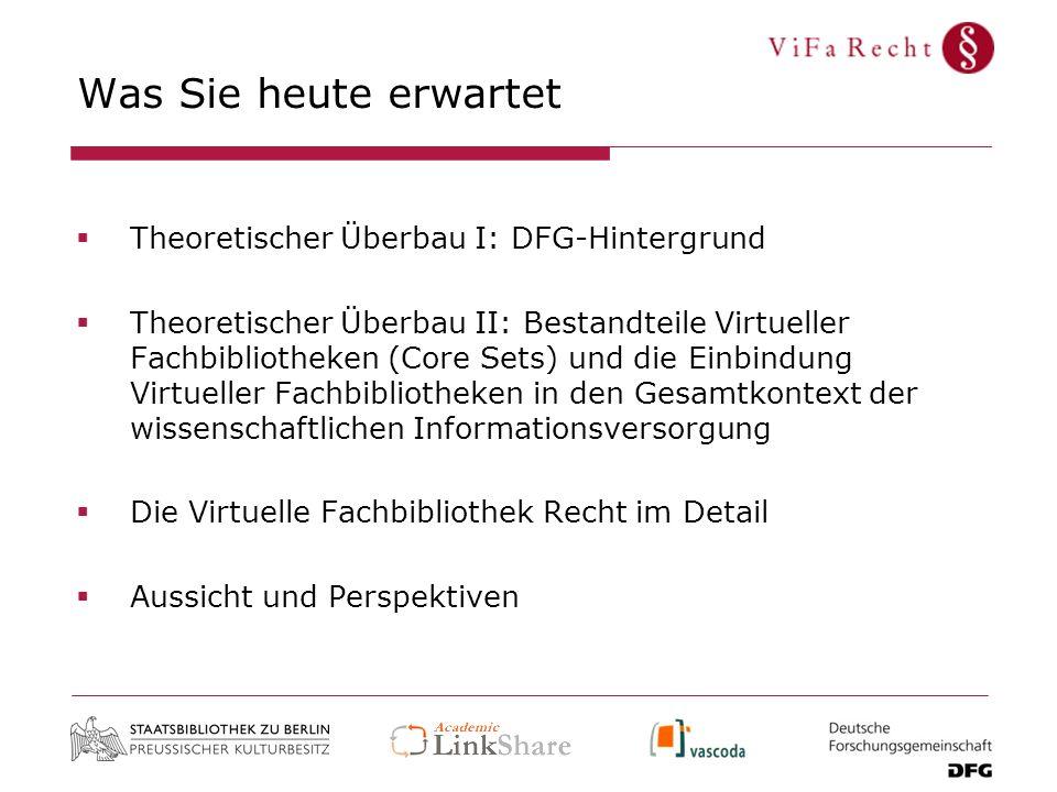 Was Sie heute erwartet Theoretischer Überbau I: DFG-Hintergrund Theoretischer Überbau II: Bestandteile Virtueller Fachbibliotheken (Core Sets) und die