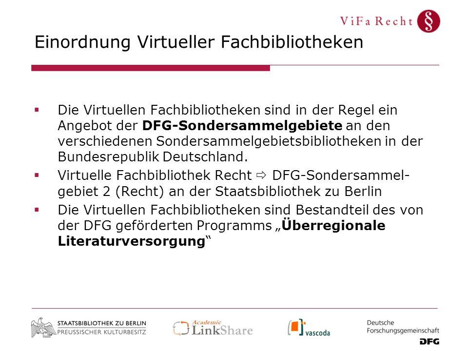 Einordnung Virtueller Fachbibliotheken Die Virtuellen Fachbibliotheken sind in der Regel ein Angebot der DFG-Sondersammelgebiete an den verschiedenen