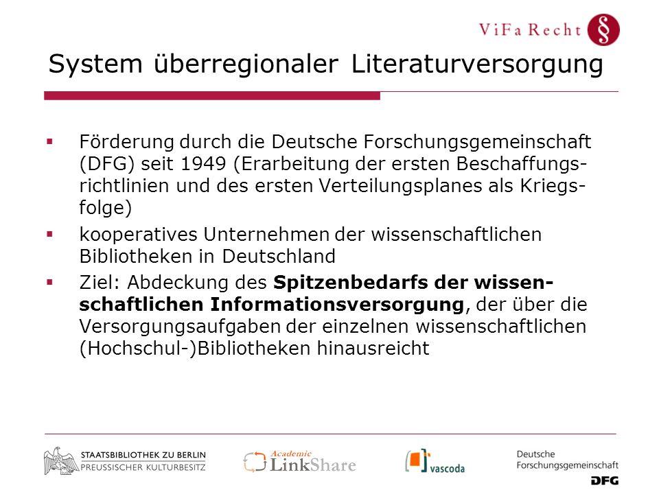System überregionaler Literaturversorgung Förderung durch die Deutsche Forschungsgemeinschaft (DFG) seit 1949 (Erarbeitung der ersten Beschaffungs- ri