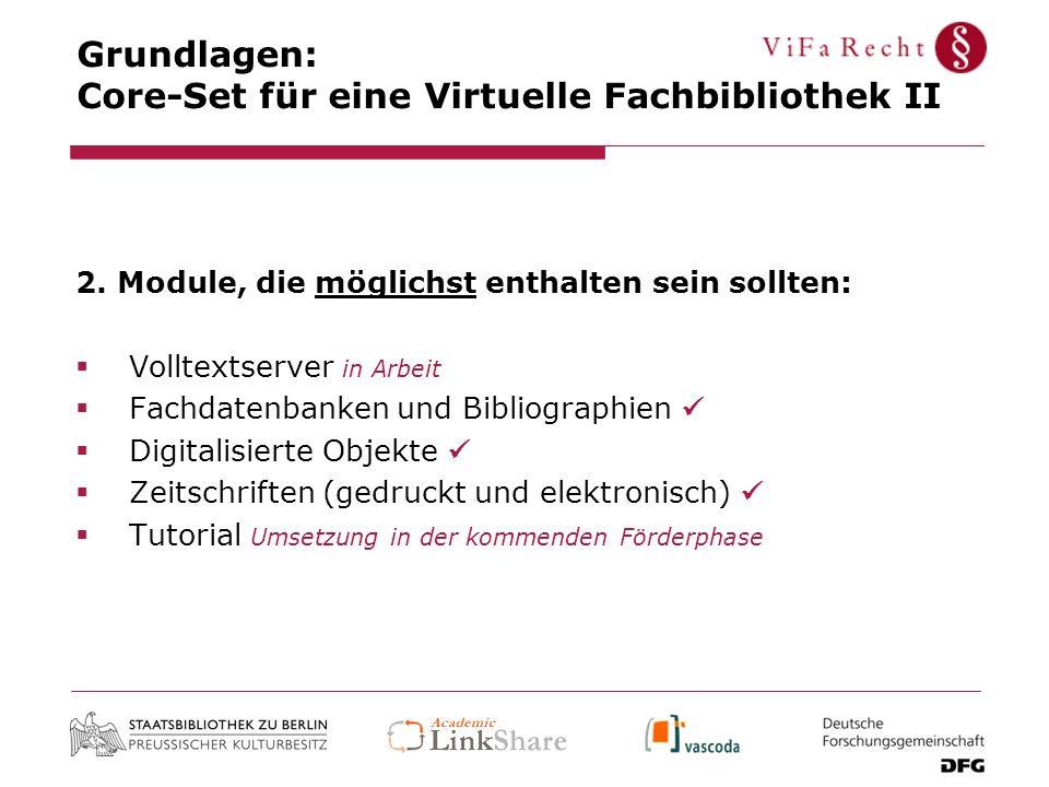 Grundlagen: Core-Set für eine Virtuelle Fachbibliothek II 2. Module, die möglichst enthalten sein sollten: Volltextserver in Arbeit Fachdatenbanken un