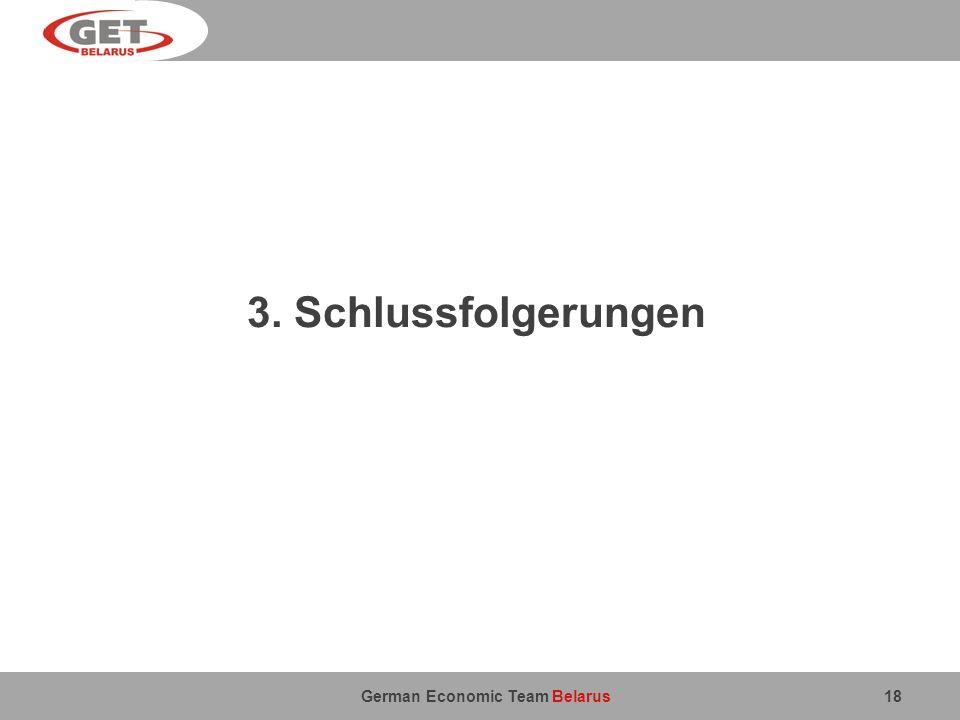 German Economic Team Belarus 3. Schlussfolgerungen 18